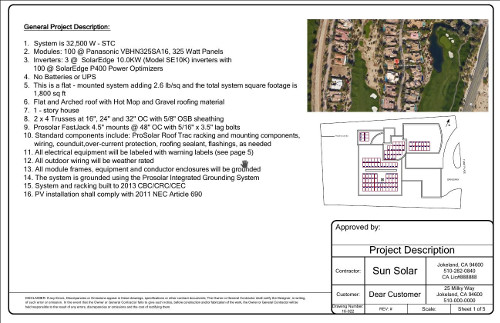 Sample Solar Permit Plan   Project Description